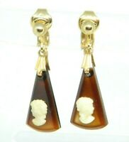 Brown Glass Cameo Gold Tone Dangle Vintage Earrings