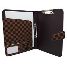 A4 ORGANISER Portfolio Leather pu Notepad Ring Binder Folder ID Brown 5502