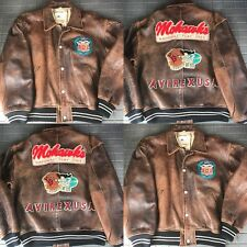 Avirex USA Leather Bomber Jacket Mohawks 302 Scouting Squadron Brown Men's M