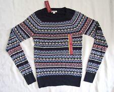 Ladies Merona Fair Isle Winter Christmas Sweater Blue Pink White Sz S New!