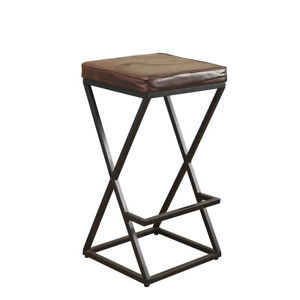 Real Genuine Leather Handmade Brown Bar Stool - Black Iron Frame Pre-Assembled