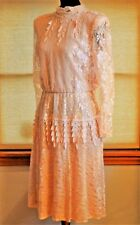 Ursula Of Switzerland Skirt Dress Pink Champagne Soft Lace 9/10 Chic 70s Vintage