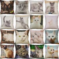 "18"" Cat Pattern Cotton Linen Home Decor Pillow Case Waist Throw Cushion Cover"