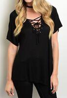 Black Short Sleeve Lace-Up Neckline Asymmetric Hem Jersey Blouse Tunic Top S M L
