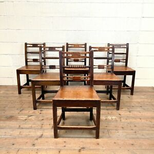 Set of Six Georgian Oak Country Chairs (M-2801) - FREE DELIVERY*