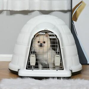 Plastic Igloo Dog House Puppy Kennel Pet Shelter w/ Windows for Small Siz