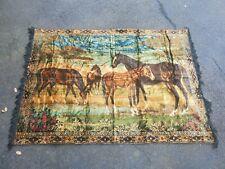 Vintage Velvet Tapestry Wall Hanging Rug P&C Horses 70x49