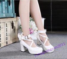 Sweet Lolita Womens Bowknot Block Heels Buckle Cross Strap Shoes Round Toe girls