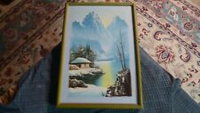 "Vintage Asian Winter Mountain House Painting Unsigned Original Art 16"" x 11"" VG"
