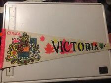 Victoria BC Canada Travel Souvenir Pennant Canadian Coat Of Arms Vintage