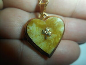 K & L VINTAGE IRISH CONNEMARA MARBLE 3 LEAF CLOVER Heart Locket NECKLACE 14KGF