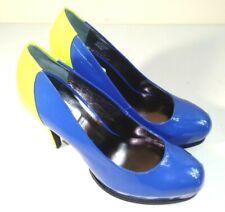 "NEW Simply Vera Wang PUMPS 9.5 Platform 5"" High Heel Platform Shoes Blue/Yellow"