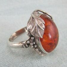 Vintage Estate Signed E K Beautiful Amber Grape Sterling Silver Ring 5.5
