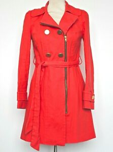 Monsoon Fusion Trench Coat Orange / Red Zip Front Collared Short Length 12
