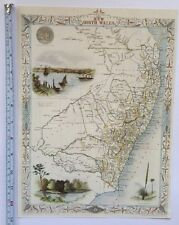 Antique vintage map 1800s: New South Wales, Australia: Tallis 13 X 9 Repo 1851c