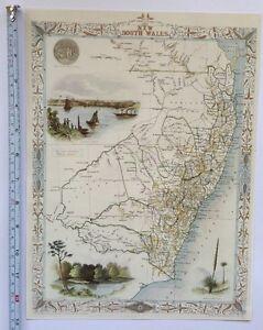 Antique vintage old map 1800s: New South Wales, Australia: Tallis Reprint 1851c