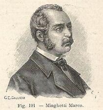 B1424 Marco Minghetti - Incisione antica del 1928 - Engraving