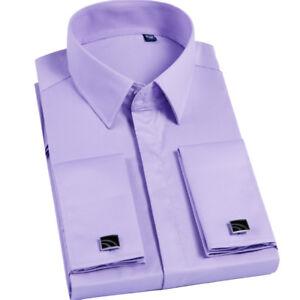 Mens Dress Shirts Long Sleeve French Cuff Formal Business Cufflinks Shirts Tops