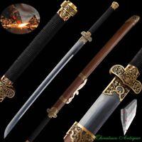 Qing Sword Sabre Broadsword Pattern Steel T10 Steel Honsanmai Blade Sharp #2453