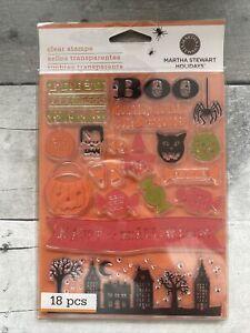 Martha Stewart Holidays Halloween Clear Stamps 18 Pieces Boo Pumpkin Candy Cat
