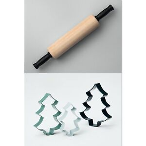 Hearth Hand Magnolia Wooden Rolling Pin & Cookie Cutter 4PC SET Trees FREEgftwrp