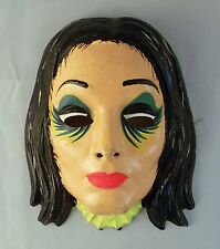 Vintage 1960s Morticia Addams Vacuform Plastic Halloween Mask  - Addams Family