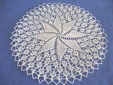 Handgestrickt ! rundes Deckchen rund  33 cm helles beige Baumwolle Mitteldecke