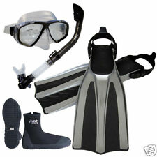 Professional Scuba Dive Silicone Mask Dry Snorkel Boots Fins Package Gear Set