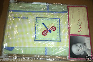 Baby Martex Lilly Pad DIAPER STACKER dragonfly green yellow gingham lily NEW NIP