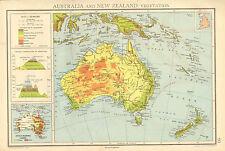 1942 MAPA GRÁFICO ~ AUSTRALIA Y NUEVA ZELANDA ~ VEGETACIÓN MOUNTAINS