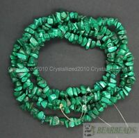"Natural Malachite Gemstones 5-8mm Chip Beads Spacer Loose 35"" Bracelet Necklace"