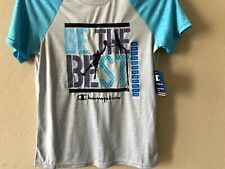 NEW CHAMPION boys 10/12 polyester BE THE BEST T-shirt top shirt gray teal
