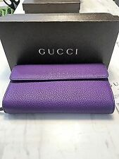 Gucci Grand Prix  Leather Zip Around Continental Wallet  # 347112 Shine Purple