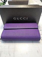 Gucci Grand Prix  Leather Zip Around Continental Wallet  # 347112 Shine Purple