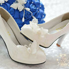 Pearl White Lace Butterfly Wedding Bridal Shoes High Heels Flat Party 006 L