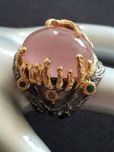 Ring 925 Silber großer Rosenquarz, 585 Gold verg. Handarbeit