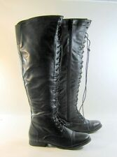 "New Blacks 1""block heel front lace up long over the knee boot round toe Size 6.5"