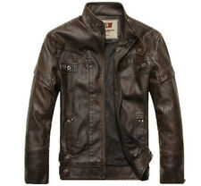 NEW Men's winter leather jackets motorcycle coats washed leather coat
