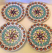 Studio Art Redware Majolica Glazed Pottery Plates Set /4 Coloful Mosaic Design