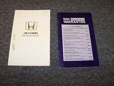 1992 Honda Accord Sedan Owner Owner's Manual User Guide Set 4 Door DX LX EX 2.2L