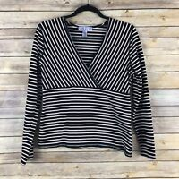 Nine Co Womens Top Cotton Stretch Knit V Neck Fitted Striped Long Sleeve Size M