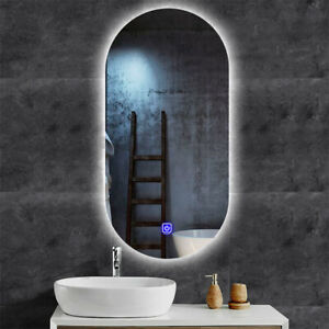 Oval back lit LED mirror bathroom vanity touch button & anti-fogger 450 x 1000mm