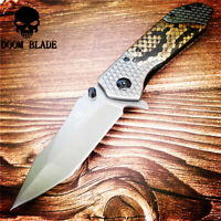 Blade Quick Open Knives Wood Handle Folding Knife Survival Camping Tool Hunting
