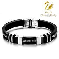 Titanium Steel Stainless Steel Silica Gel Very Popular Black Men`s Bracelet