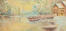 1999 Impressionist winter river landscape gouache painting signed