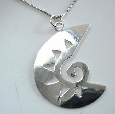 Tribal Art Style Pendant 925 Sterling Silver Corona Sun Jewelry