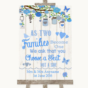 Wedding Sign Poster Print Blue Rustic Wood As Families Become One Seating Plan