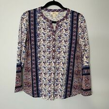 NWT Style & Co Long Sleeve V neck Knit Shirting Red Blue Shirt Size PS
