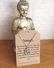 Yoga-Namaste significato Argento Placcato Collana simbolo di Ohm messaggio CARD Yogi Regalo