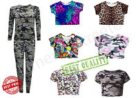 Girls Print Crop Top Kids Short sleeve Summer T-Shirts Dance Year Age 7-13 Years
